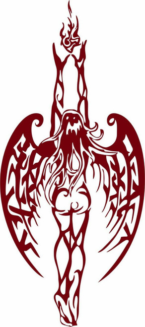 Angel Fairy Fantasy Girl Tribal Fire Wings Car Truck Window Vinyl Decal Sticker Red