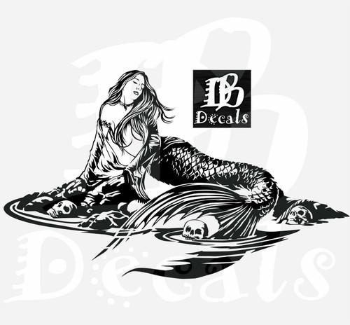 Mermaid Sexy Girl Skull Siren Fantasy Car Boat Truck Window Vinyl Decal Sticker Black