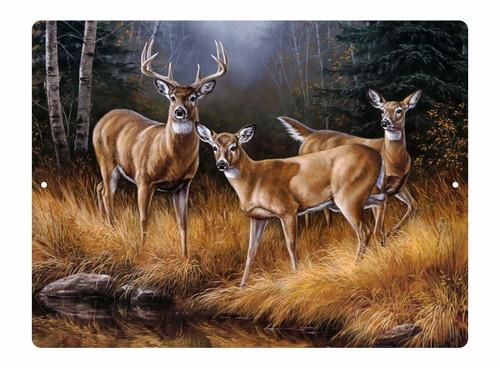 Deer Buck Doe Field Farm Hunting Woods Metal Novelty Room Wall Sign Plate Plaque