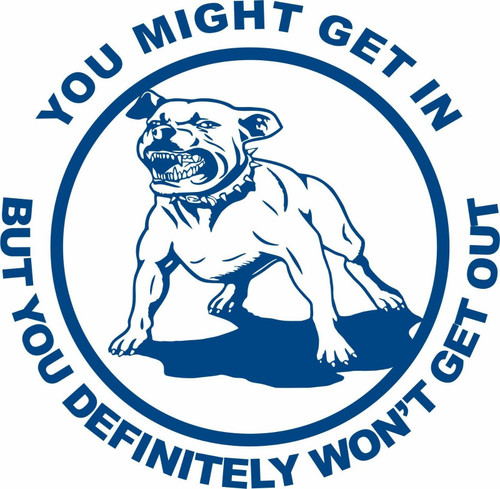 Pit Bull Watch Attack Dog Home Protection Car Truck Window Vinyl Decal Sticker Blue