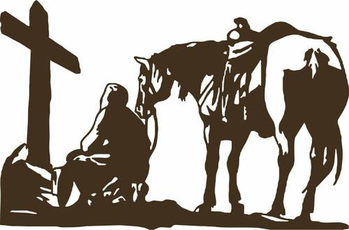 Jesus Christian Cowboy Praying Kneel Cross Rodeo Car Truck Vinyl Decal Sticker Golden