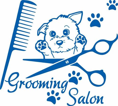 Dog Grooming Pet Salon Shop Spa Car Truck Window Laptop Vinyl Decal Sticker Blue