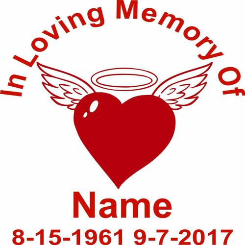 Custom In Loving Memory of Heart Halo Wings Car Truck Window Vinyl Decal Sticker Red