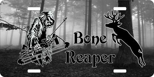 Bone Grim Reaper Bow Arrow Hunting Deer Hunter License Plate Car Truck Tag  Black