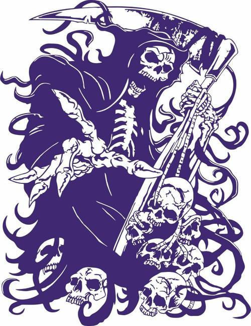 Grim Reaper Skull Skulls Scythe Blade Car Truck Hood Window Vinyl Decal Sticker Blue