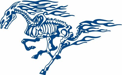 Horse Tribal Fire Flame Skeleton Car Truck Window Large Vinyl Decal Sticker Blue