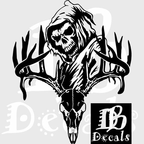 Deer Skull Bone Hunting Buck Reaper Car Truck Window Large Vinyl Decal Sticker Black
