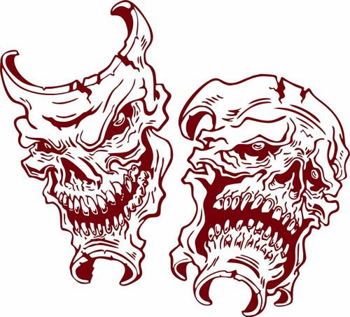 Happy Sad Evil Face Skull Joker Clown Car Boat Truck Window Vinyl Decal Sticker Red