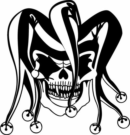 Clown Evil Jester Joker Skull Car Truck Window Laptop Vinyl Decal Sticker Black