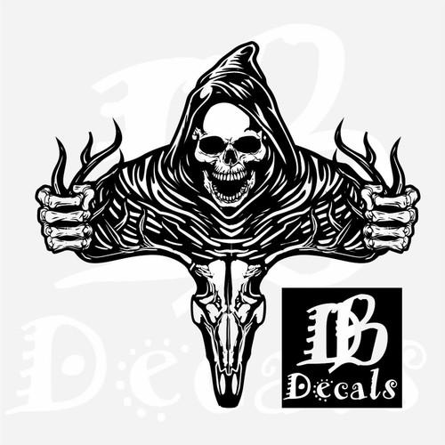 Deer Skull Bone Hunting Buck Grim Reaper Car Truck Window Vinyl Decal Sticker Black