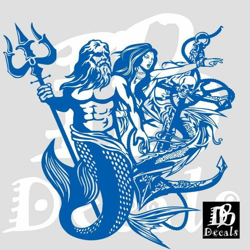 Mermaid Sexy Girl Poseidon Aqua Man Car Boat Truck Window Vinyl Decal Sticker Blue