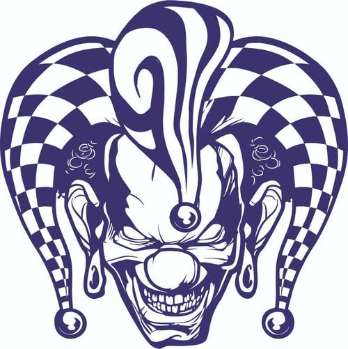 Jester Clown Circus Freak Show Skull Car Truck Laptop Window Vinyl Decal Sticker Blue