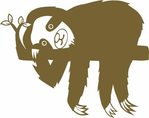 Sloth Slow Animal Farm Pet Zoo Car Truck Window Vinyl Decal Sticker Golden