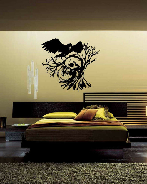 Skull Tree Raven Crow Bird Scary Spooky Wall Art Home Decor Mural Vinyl Decal