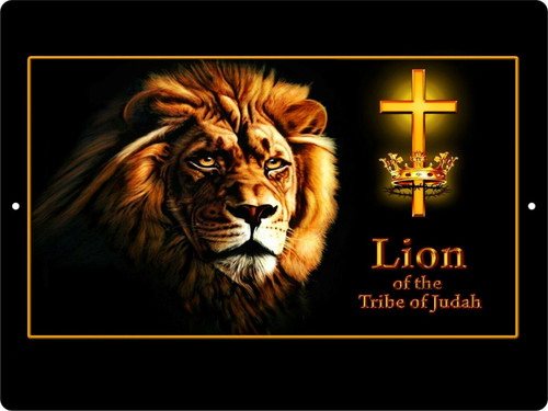 Lion of Judah Yeshua Lamb Jesus Christ Cross Crown Christian Wall Sign Plaque