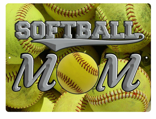 Softball Mom Sports Fan Game Baseball Ball Bat Personalized Wall Sign Plaque