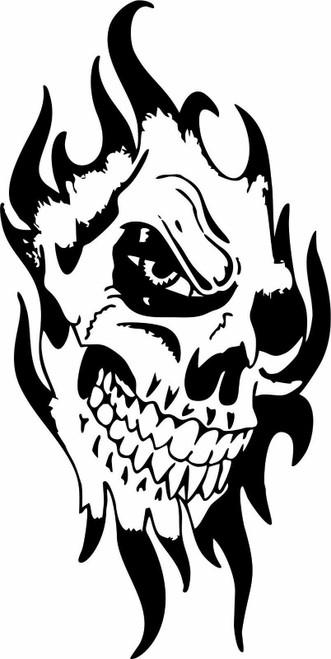 Skull Face Flame Tribal Zombie Monster Car Truck Window Wall Vinyl Decal Sticker Black