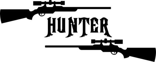 Gun Hunter Hunting Deer Buck Rifle Car Truck Window Vinyl Decal Sticker Black