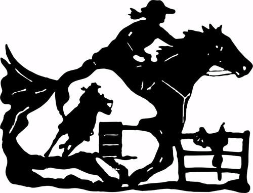 Cowgirl Barrel Racer Horse Saddle Rodeo Racing Window Vinyl Decal Sticker Black