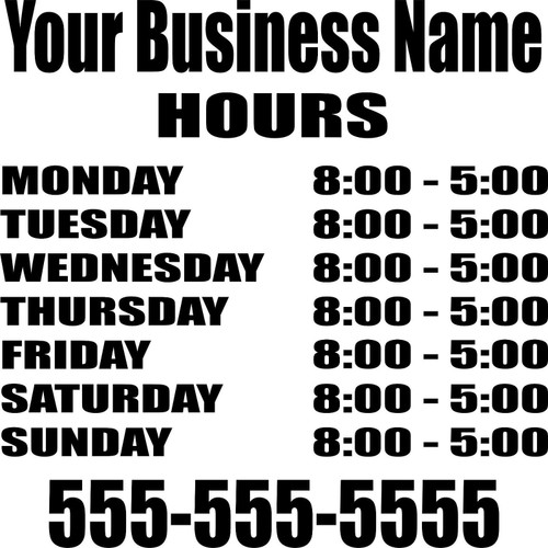 Custom Store Front Business Hours Sign Car Truck Window Wall Vinyl Decal Sticker Black and white