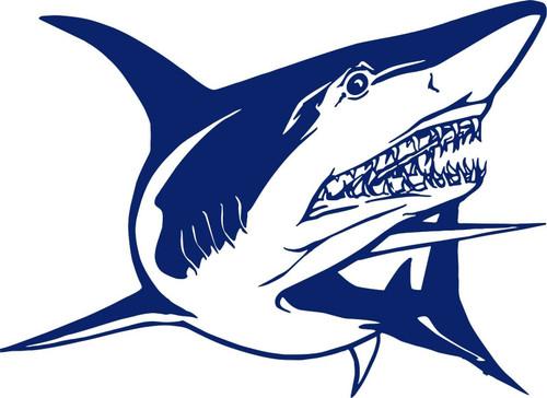 Shark Attack Ocean Fishing Water Boat Car Window Laptop Vinyl Decal Sticker Blue