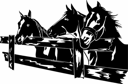 Horse Rodeo Western Fence Pasture Mule Car Truck Window Vinyl Decal Sticker Black
