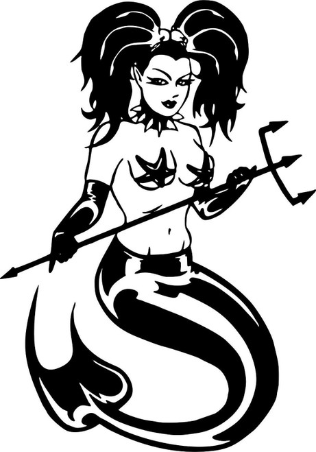 Mermaid Girl Fish Tail Fantasy Trident Car Truck Window Vinyl Decal Sticker Black