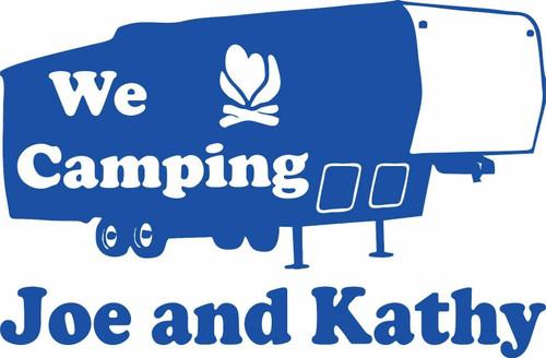 Camping 5th Wheel Camper Travel Trailer Custom Name Large Vinyl Decal Sticker Blue