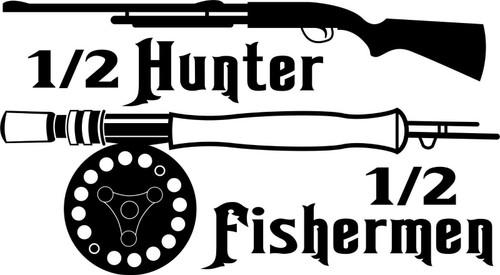 Half Hunter Fisherman Fishing Hunting Gun Truck Window Vinyl Decal Sticker Black