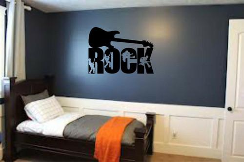 Rock Guitar Musician Teen Kids Boys Room Wall Art Home Decor Mural Vinyl Decal