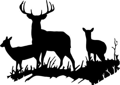 Deer Hunting Wall Art Home Decor Vinyl Decal  Black