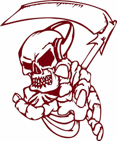 Grim Reaper Scythe Music Skull Monster Zombie Truck Window Vinyl Decal Sticker Red