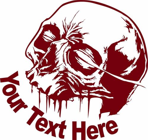 Custom Skull Name Text Lineman Gothic Sign Car Truck Window Vinyl Decal Sticker Red