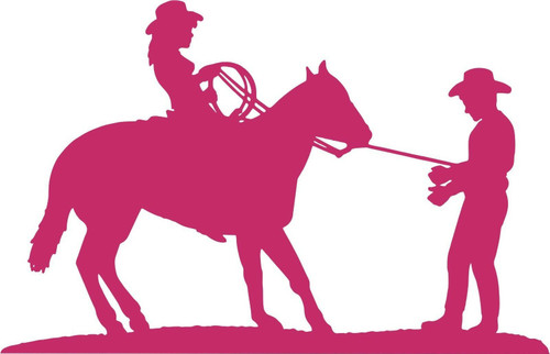 Cowgirl Cowboy Horse Rodeo Western Car Truck Window Laptop Vinyl Decal Sticker Red