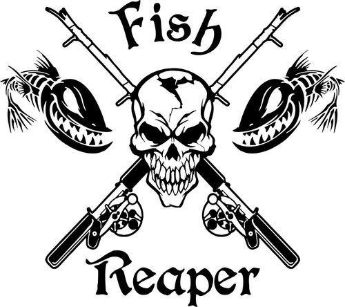 Fish Reaper Skull Fishing Rod Reel Car Boat Truck Window Vinyl Decal Sticker Black