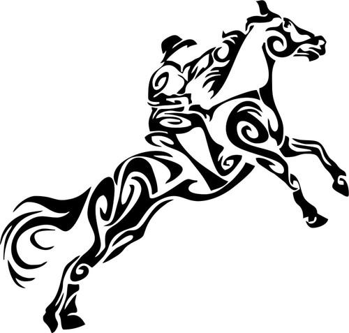 Tribal Cowboy Horse Rodeo Western Car Truck Window Laptop Vinyl Decal Sticker Black