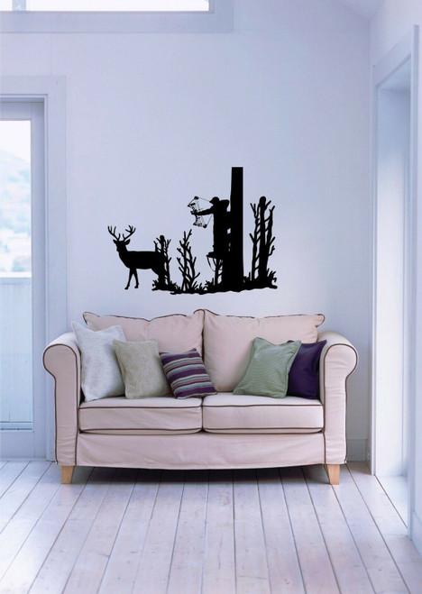 Deer Whitetail Buck Bow Hunting Hunter Wall Art Home Decor Mural Vinyl Decal