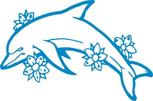 Dolphin Flowers Ocean Fish Animal Car Truck Window Laptop Vinyl Decal Sticker