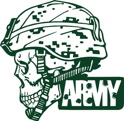 Army Military Police Soldier Skull Camo Car Truck Window Vinyl Decal Sticker Green