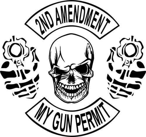 2nd Amendment Skull Gun Permit Control Car Truck Window Vinyl Decal Sticker Gray