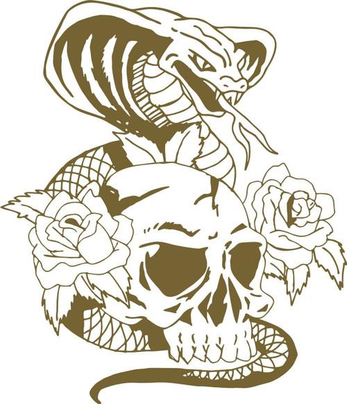 Snake Cobra Skull Flowers Roses Car Truck Window Laptop Vinyl Decal Sticker Gray
