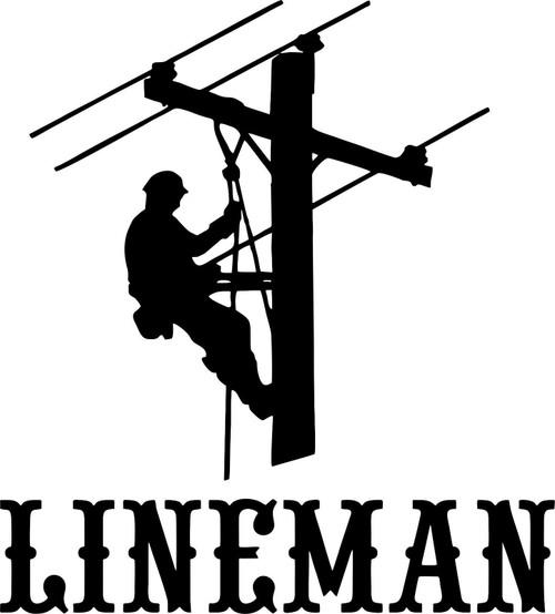 Lineman Electrician Power Worker Man Car Truck Window Laptop Vinyl Decal Sticker Black