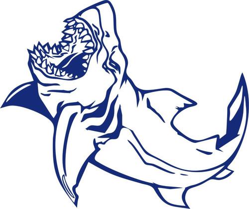Shark Ocean Fishing Swimming Water Boat Car Window Laptop Vinyl Decal Sticker Blue