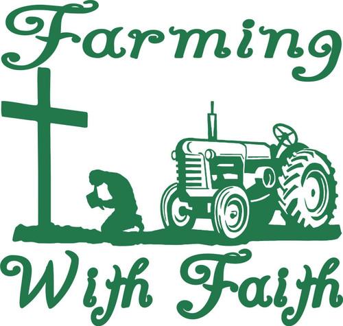 Farm Faith Christian Cross Praying Tractor Car Truck Window Vinyl Decal Sticker Green