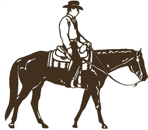 Cowboy Riding Horse Rodeo Equestrian Car Truck Window Vinyl Decal Sticker Gray
