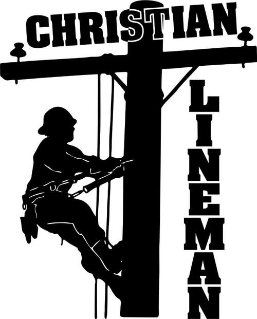 Christian Lineman Electrician Journeyman Car Truck Window Vinyl Decal Sticker Black