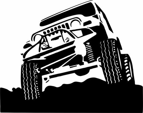 Off-Road 4x4 Rock Climbing Car Truck Window Wall Vinyl Decal Sticker Black