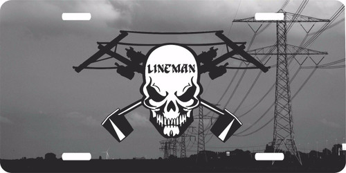 Lineman Linemen Skull Electrician Power Pole License Plate Car Truck Tag
