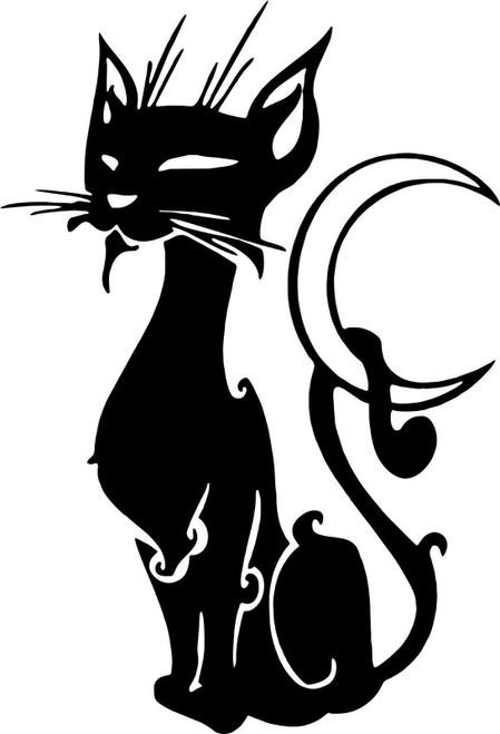 Cat Kitten Feline Pet Moon Animal Car Truck Window Laptop Vinyl Decal Sticker Black