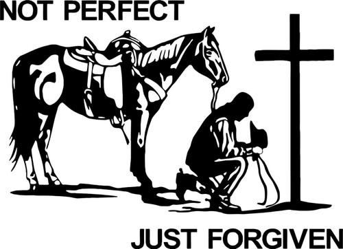 Christian Cowboy Praying Horse Cross Car Truck Window Laptop Vinyl Decal Sticker Black